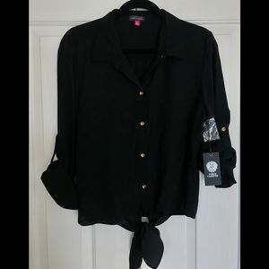 Black Vince Camuto Botton Down Top w/Tie at Waste